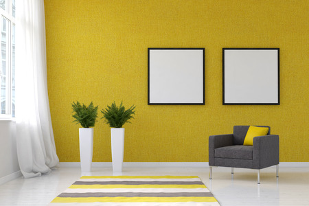 home accents: Bright living room with striped throw rug, pai. 3d Rendering. Stock Photo
