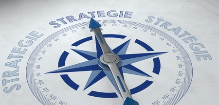3d render concept about strategie (strategy) with German compass pointed at the word strategie as symbol for planning and campaigns Stock Photo