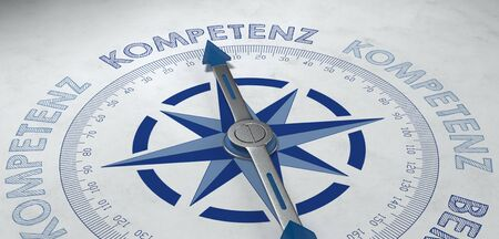3d render close up of compass pointing to German text for competence and highly skilled endeavors