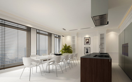 Elegant dining room interior with white decor, large windows with blinds and an open plan fitted kitchen with center island, 3d rendering
