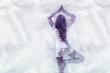 Spiritual dessin de l'arrière d'une femme à pratiquer le yoga équilibre sur une jambe, les mains jointes posées sur papier froissé texture avec copie espace crayon Banque d'images