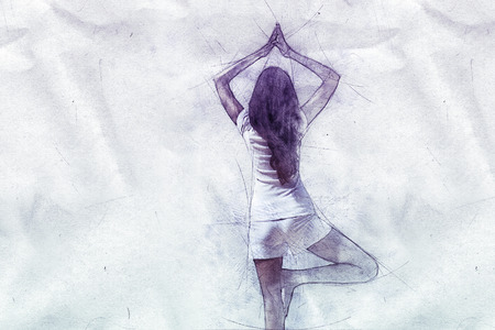 a leg: Spiritual pencil drawing from the rear of a woman practicing yoga balancing on one leg with raised clasped hands on textured crumpled paper with copy space Stock Photo