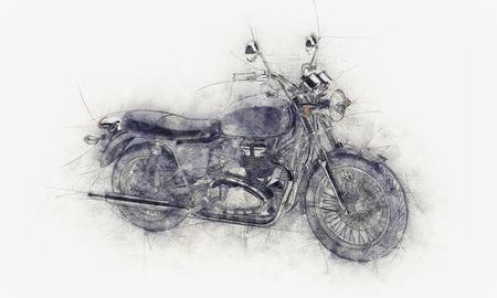 boceto a lápiz de una moto con las líneas de guía y las manchas de color gris o efecto pictórico de textura de papel blanco o lienzo