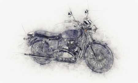 off white: Rough pencil sketch of a motorbike with guide lines and grey smudge or painterly effect on textured off white paper or canvas