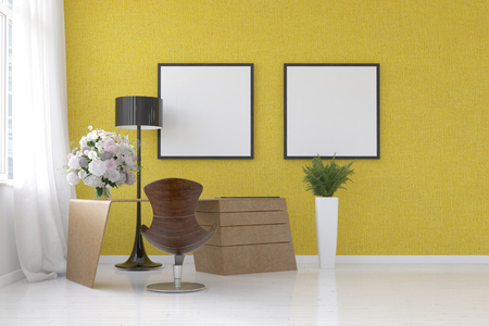 corner tub: Modern yellow living room interior with blank picture frames on the wall, a standing lamp, contemporary molded chair and flower arrangement, 3d rendering Stock Photo