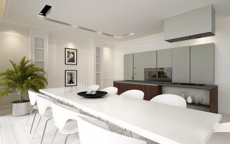 다운 불빛에 의해 조명 장착 장치 및 기기와 세련된 흰색 테이블과 의자 현대 럭셔리 개방형 식당 주방 거실, 3D 렌더링