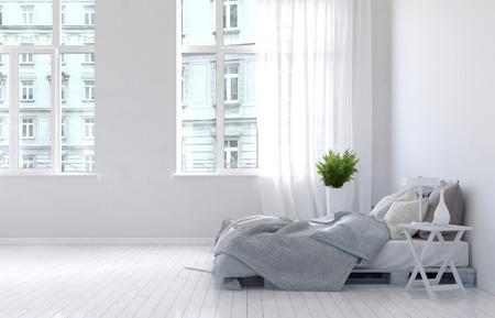 3D-rendering van onopgemaakt bed met grijze dekens in spaarzaam ingerichte slaapkamer interieur met hardhouten vloer