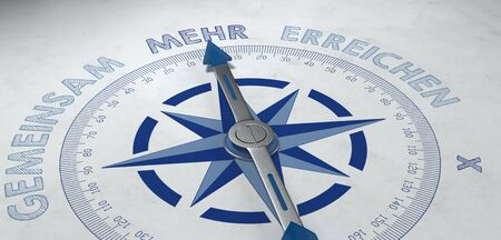 3d render of compass pointing to German word mehr, for concept about more and greater things