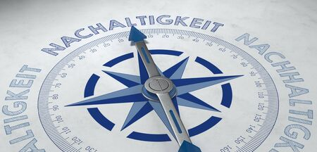 3d render of gray and blue compass aimed at nachaltigkeit, or German phrase for sustainability in business Stock Photo