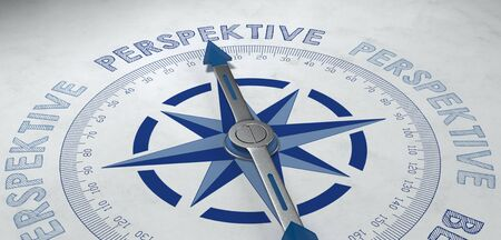 the prospects: Blue and gray compass pointed at German word perspektive, for concept about point of view or prospects of success