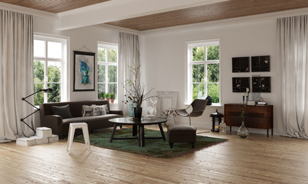 open floor plan: Comfortable cozy living room corner in an open plan loft interior with hardwood floor and sofa with rug and tables overlooked by windows on all sides, 3d rendering