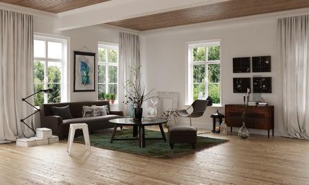 Komfortables gemütliches Wohnzimmer Ecke in einem offenen Loft-Interieur mit Holzboden und Sofa mit Teppich und Tabellen durch Fenster auf allen Seiten übersehen, 3D-Rendering