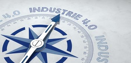 3D render van het kompas gericht op de Duitse uitdrukking industrie 4.0, voor concept over het feit dat werknemers in de industriële sector