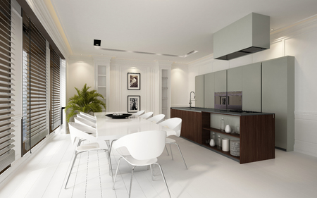 open plan: Stylish luxury white dining and kitchen area in an upmarket residence with built in units and appliances and a parquet floor overlooked by a row of large windows with blinds, 3d rendering