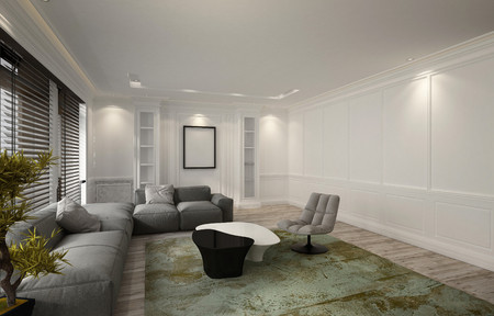 snug: Snug illuminated luxury living room or den interior with a comfortable modular settee corner unit, recliner chair and green carpet lit by down lights and windows covered with blinds, 3d rendering Stock Photo