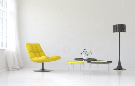 Spacious luxury living room interior with blank wall behind soft yellow chair, round tables and floor lamp. 3d Rendering.