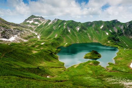 Schrecksee, an alpine lake in the Allgaeu alps near Hinterstein, Bavaria, German