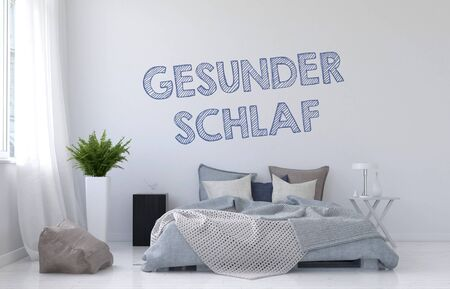 sweet dreams: Sweet Dreams or Good Sleep concept with a modern monochromatic white bedroom interior with rumpled divan bed and German text Gesunder Schlaf on the wall, 3d render Stock Photo