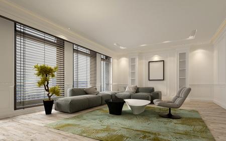 천장 창 블라인드와 부드러운 회색 모듈 형 소파에 큰 바닥 멋진 아파트 거실 인테리어입니다. 빈 벽과 복사 공간 액자를 포함합니다. 3D 렌더링.