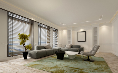 3D rendering: Fancy apartment living room interior with large floor to ceiling window blinds and soft gray modular sofa. Includes blank walls and picture frame with copy space. 3d Rendering.
