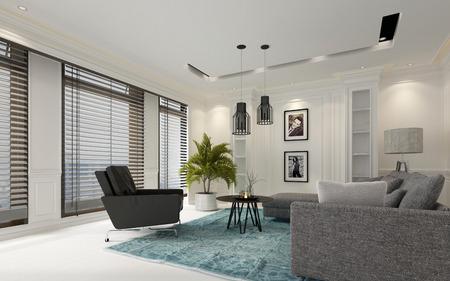 Séjour moderne de luxe blanc avec stores sur une rangée de grandes fenêtres, canapé et fauteuil gris confortables éclairés par des lumières tamisées, rendu 3d Banque d'images