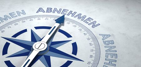 unsustainable: Blue and gray weathered 3D rendering of German text ABNEHMEN (loose weight) on weathered gray compass pointing upward Stock Photo