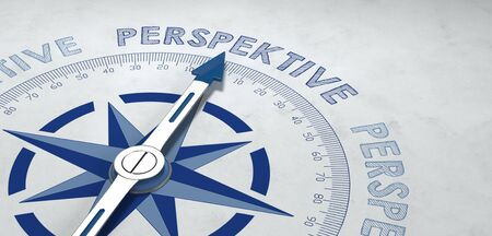 viability: Pointer on compass pointed at German word perspektive, for concept about point of view or prospects of success