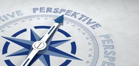 Pointeur sur la boussole pointé sur le mot allemand perspektive, pour concept sur le point de vue ou les perspectives de succès