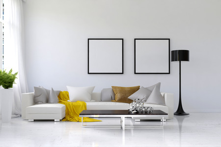 Lived in spacious living room with white walls, large sofa and floor lamp. Includes houseplant holder, coffee table and blank picture frames on wall. 3d Rendering. Stok Fotoğraf