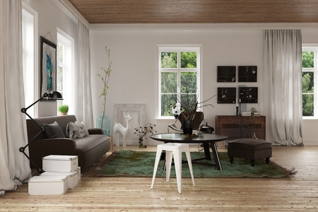 Modern interior decor of a Scandinavian loft with a living room corner with comfortable couch, tables and ottoman on a natural wood floor with windows on all sides, 3d rendering