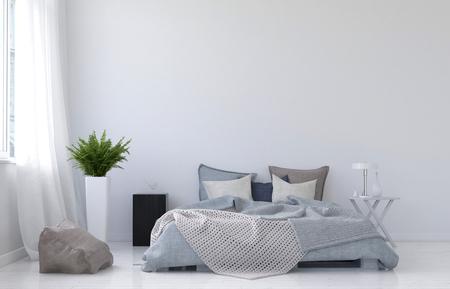 Moderne minimalistische witte slaapkamer inter met een verfomfaaide rommelige divan bed naast een raam met netto gordijnen, monochroom grijs en wit decor, 3D-rendering Stockfoto