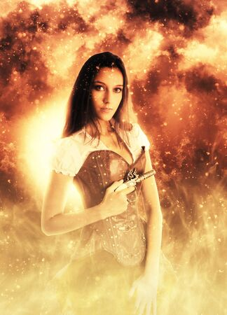 female assassin: Single calm young beautiful woman in steampunk outfit and vintage pistol in hand surrounded by flames Stock Photo