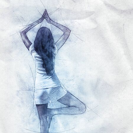 sketch drawing: Outline drawing pencil sketch of a woman doing yoga standing balancing on one leg with her back to the camera as she meditates on textured crumpled paper with copy space