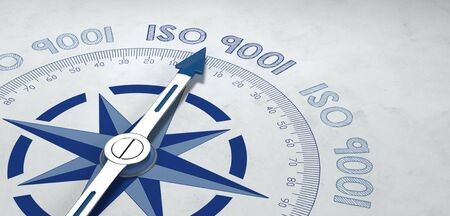 statutory: 3d render of blue and gray metal compass pointer targeting text for ISO 9001 standards. Includes additional copy space.