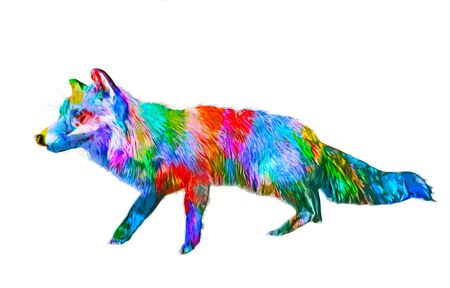 originality: Colorful paint effect fox artwork in the colors of the rainbow with fur detail standing sideways isolated on white Stock Photo