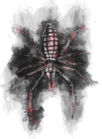painterly effect: Scary looking red and black 3D render of spider on top of black ink mass surrounded by white