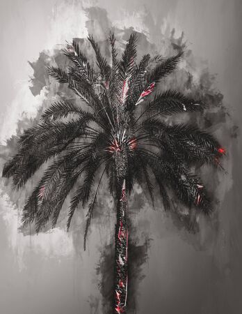 atmospheric: Single large palm tree as abstract gray and black watercolor painting with subtle red highlights on trunk