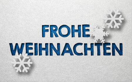 seasonal greeting: Seasonal greeting card with German writing and three snowflakes against a white background