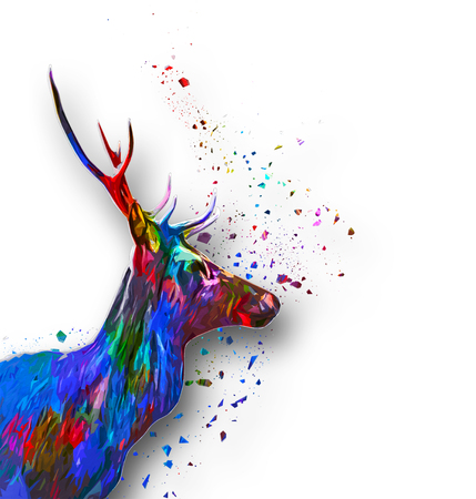 buck: Colorful paint effect buck head with splatter surrounding it in a side profile view in the colors of the spectrum of rainbow on white with copy space