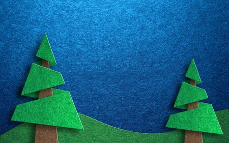 rolling hills: Seasonal greeting card design collage with two pine trees and rolling hills against a blue sky background