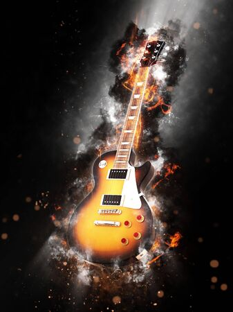 Fine art conceptual image of a flaming smouldering wooden guitar on a dark background with smoke and sparks Stock Photo
