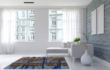 3D render of luxury living room with urban buildings seen through tall glass windows