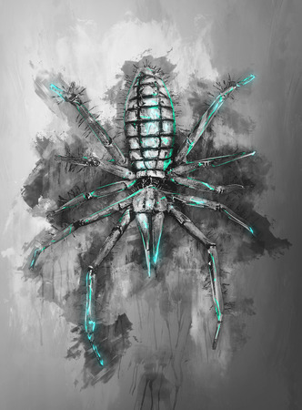 painterly effect: Ink on canvas type of render of spider in black and green over gray background from top down view