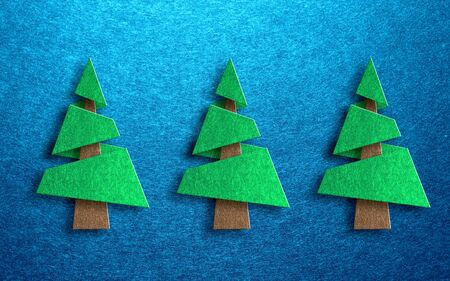 trees seasonal: Seasonal greeting card design with three dimensional conical shaped pine trees against a blue textured background