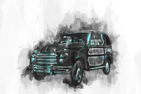 Drie kwart uitzicht op oude lege auto schilderen met witte rand vignet in zwart en groene verf