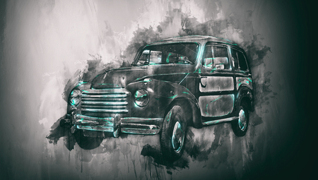 three quarter: Three quarter view on old empty car painting with dark vignette in black and green paint