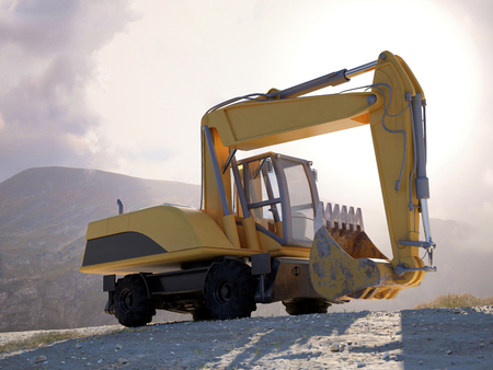 mechanical works: Large heavy duty yellow excavator parked on a mountain track against the skyline with a bright high key sun flare
