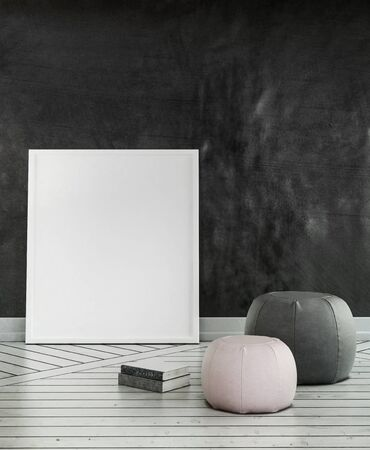 blank canvas: 3D render of cushions on wooden floor with large blank canvas leaning against dark wall Stock Photo