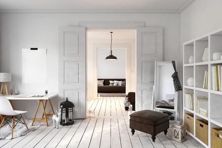 로프트 사무실의 인테리어와 구석에 키 큰 거울이있는 생활 공간. 3D 렌더링