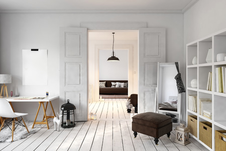 Study Desk: Interior of loft office and living space with tall mirror in corner. 3D rendering Stock Photo